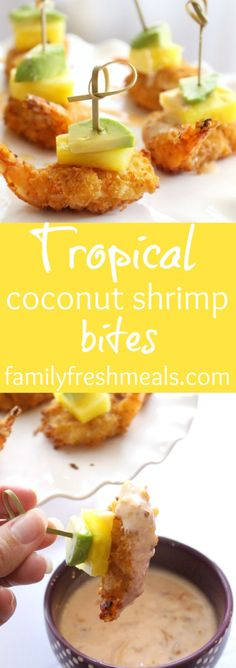 These Tropical Coconut Shrimp bites only take minutes to make. These Tropical Coconut Shrimp bites only take minutes to make and are bursting with flavor! Perfect appetizer to WOW your guests with. Seafood Recipes, Appetizer Recipes, Cooking Recipes, Party Appetizers, Tropical Party Foods, Tropical Appetizers, Hawaiian Appetizers, Hawaiian Luau, Tropical Fish