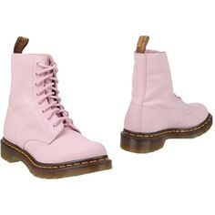 Dr. Martens Ankle Boots (€200) ❤ liked on Polyvore featuring shoes, boots, ankle booties, pink, bootie boots, leather bootie, round toe booties, leather booties and pink ankle boots