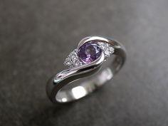 Diamond Wedding Ring with Amethyst in 14K White Gold. $695.00, via Etsy.