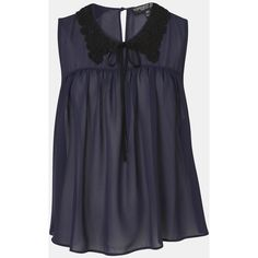 Topshop Crochet Collar Chiffon Blouse (Petite) Midnight Blue 8P ($30) ❤ liked on Polyvore featuring tops, blouses, new tops, tie top, topshop tops, collar top, topshop blouses and tie collar blouse