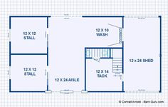 Barn Plans - Two Stall Horse Barn With Tack and Feed. Horse Barn Plans for sale. Large selection of Horse Barn Plans For Sale.