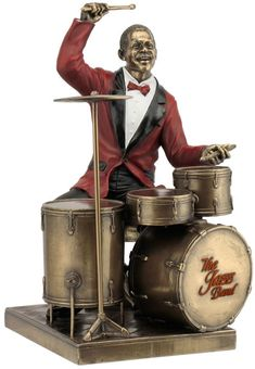 Jazz Band Drum Player Figurine Sculpture Statue-Home Décor-Decorations-Music Related Gifts-Available for Sale at AllSculptures.com