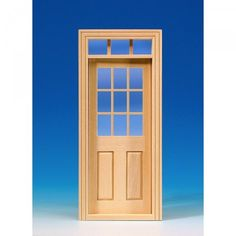 Interior door with glass pane (60180). Natural wood door. Door window with real glass pane, acrylic glass overhead light, separate lattice strips and interior paneling. Dimensions: 87 x 198 mm, cut-out dimensions: 78 x 195 mm.