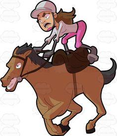 A female jockey riding a crazy horse #cartoon #clipart #vector #vectortoons #stockimage #stockart #art