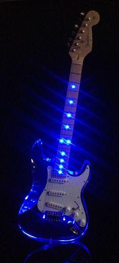Shocking Blue Guitar - Custom Acrylic Crystal Clear Electric Guitar With Blue LED Light Guitar Art, Music Guitar, Cool Guitar, Playing Guitar, Blue Guitar, Guitar Chords, Custom Electric Guitars, Custom Guitars, Rock Y Metal