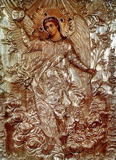 18th century Russian Orthodox icon of Archangel Gabriel