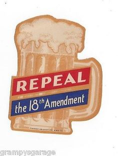 1932 Repeal 18th Amendment BEER MUG window decal anti PROHIBITION vote wet