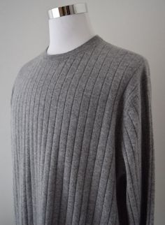 T. Edwards Men's 100% Cashmere Sweater Crew Neck Gray Long Sleeve Size XXL #TEdwards #Crewneck