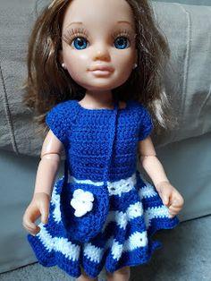 Nancy vestido estrella Crochet Doll Pattern, Crochet Dolls, Crochet Hats, Crochet Barbie Clothes, Doll Clothes, Crochet Necklace, Dresses, Patterns, American