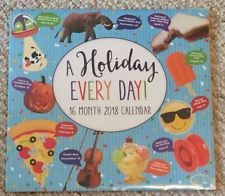"""What a great way to be entertained with a """"Wacky and Unique Holiday for every day of the year,""""   and to stay organized at the same time!....  Brand New """"A Holiday Every Day"""" 16 Month 2018 Calendar, in factory applied shrink wrap.  Measures approximately 11"""" high x 11 3/4"""" wide as packaged. In brand new condition, with no marks or tears. So much fun!"""