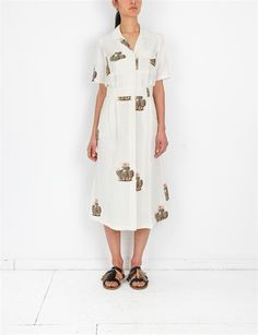 Creatures of Comfort Misch Dress - Flora White Cactus Print, Everyday Fashion, Style Me, Wrap Dress, Floral Prints, Cold Shoulder Dress, White Dress, Creatures, Womens Fashion
