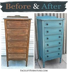 Tall chest in distressed Sea Blue and Black Glaze - Before & After from Facelift Furniture