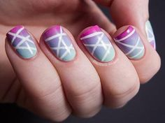 This abstract, gradient nail art is a unique way to have fun with spring pastels! #nailart #mani #manicure