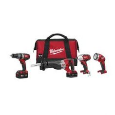 """The 2696-24 M18 cordless LITHIUM-ION 4-tool combo kit includes the 1/2"""" Hammer Drill / Driver (2602-20) Sawzall Recip Saw (2620-20) 1/4"""" Hex Impact Driver (2650-20) and Work Light (49-24-0171). The M18 Cordless LITHIUM-ION System's patented technologies and electronics innovative motor design and superior ergonomics provide the most efficient blend of power weight and performance in the industry. Powered by RED LITHIUM the M18 cordless system delivers more torque more power and longer…"""