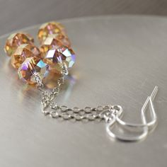 Topaz earrings swarovski crystals long earrings
