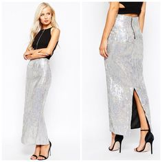 """Maxi Skirt in Hologram Sequins Brand is True Decadence. Bought off of ASOS. Tag says 10 BUT that's UK sizing. This is a US 6. Lined woven fabric. All over sequined with a holographic finish. Zip back. Kick spilt to back. Slim fit (cut closely to body.) 100% polyester. Approx 40"""" in length. Approx 28"""" waist. ❌No trades and no PayPal.❌ ASOS Skirts Maxi"""