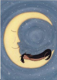 Black and tan longhaired dachshund (doxie) sleeping on the moon / Lynch signed folk art print via Etsy