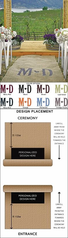 Burlap Personalized Aisle Runner with Wine Country-Theme Monogram