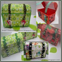 ¡Nos encanta esta idea para envolver regalos! Se trata de elaborar con cartulinas pequeños baúles decorados. Un packaging muy especial.