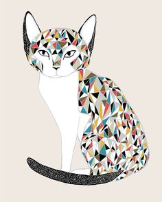 Calico Cat Print by Gingiber