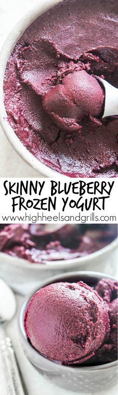Skinny Blueberry Frozen Yogurt Skinny Blueberry Frozen Yogurt – Blueberries, honey, yogurt, and a squeeze of lemon. Just four ingredients to bring you this delicious dessert! Desserts Sains, Köstliche Desserts, Frozen Desserts, Frozen Treats, Dessert Recipes, Dinner Recipes, Snack Recipes, Frozen Yogurt Blueberries, Frozen Yogurt Recipes