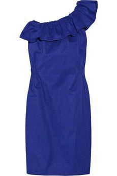 cobalt blue one shoulder ruffle dress