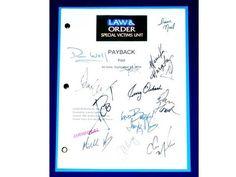 "Law & Order SVU ""Payback"" Episode Television Script Autographed: Chris Meloni, Mariska Hargitay, B.D. Wong, Ice T, Dick Wolf, Dann Florek"
