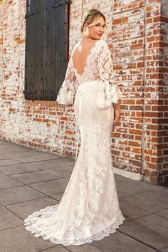 88d5be161d7 back view of the peyton long sleeve lace plus size wedding dress from  beloved by casablanca