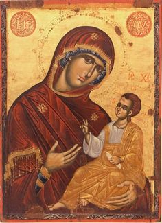 Mary And Child Religious Art by Christian Art Byzantine Art, Byzantine Icons, Religious Icons, Religious Art, Christian Artwork, Russian Icons, Art Thou, Madonna And Child, Orthodox Icons