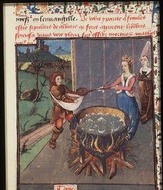 Ino orders the sowing of boiled corn   ----The Hague, KB, 74 G 27 .   Christine de Pisan, L'Epistre d'Othea Place of origin, date:  Auvergne(?); c. 1450-1475       http://manuscripts.kb.nl/show/manuscript/74+G+27