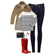 Trench coat, stripes & red Hunter boots