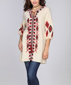 Look at this #zulilyfind! Beige Geometric Tie-Front Tunic #zulilyfinds
