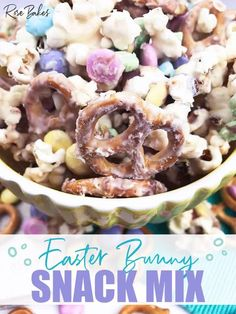 Easter Bunny Snack Mix. Easy, fun, delicious & pretty! It takes less than 20 mins and is so addictive!