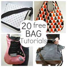 20 patrones gratis para hacer bolsas - 20 Free Bag Sewing Tutorials and Patterns Sewing Hacks, Sewing Tutorials, Sewing Crafts, Sewing Projects, Sewing Patterns, Free Tutorials, Purse Patterns, Diy Crafts, Bag Sewing