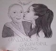 Ariana and grandpa grande drawing, so sweet