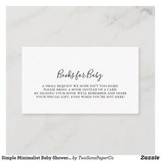 Simple Minimalist Baby Shower Book Request Enclosure Card Baby Sprinkle Invitations, Baby Shower Invitation Templates, Baby Shower Invitations For Boys, Minimalist Baby, Baby Favors, Rustic Baby, Floral Baby Shower, Baby Shower Balloons, Book