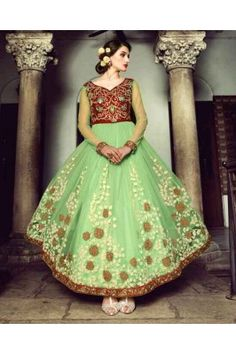 Green Color Heavy Nett Gown Anarkali Frock, Long Anarkali, Indian Wedding Outfits, Indian Outfits, Pakistani Outfits, Indian Dresses, Anarkali Suits Online Shopping, Indian Clothes Online, Designer Anarkali