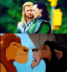 Thor and Loki meet Mufasa and Scar