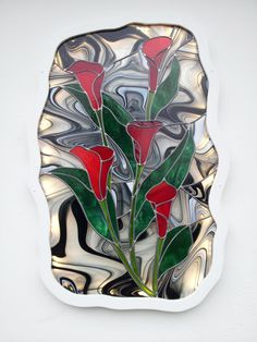 Caisson lumineux vitrail Arums : Vitraux d'Art Vanessa Dazelle