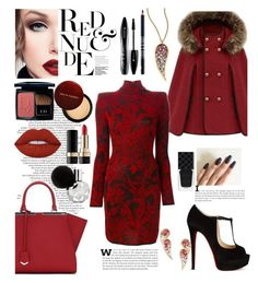"""""""RED-AND-BLACK"""" by fashion-unit ❤ liked on Polyvore featuring Lime Crime, Christian Louboutin, Lord & Berry, Gucci, Dolce&Gabbana, Kevyn Aucoin, Christian Dior, Lancôme, Balmain and Fendi"""