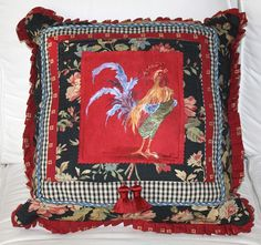 One of a Kind Hand Painted French Country Rooster Pillow Black