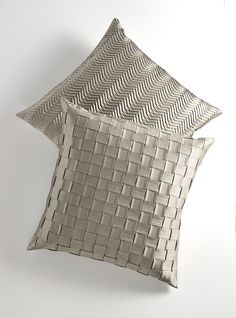 Cushions with Basket Pleat and Hollywood Pleat in White Gold by Bruno Triplet.