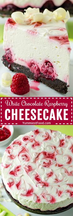 No Bake White Chocolate Raspberry Cheesecake - Recipe from Yummiest Food Cookbook Cheesecake Bites, Cheesecake Recipes, Cheesecake Cupcakes, Pumpkin Cheesecake, No Bake Chocolate Desserts, Baking Desserts, Cake Chocolate, Chocolate Color, Health Desserts