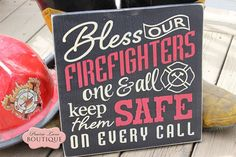 12 x 12 wood sign Bless our FIREFIGHTERS one & by prairieboutique, $28.00