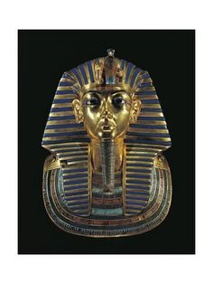 Death Mask of Tutankhamun. The death mask of Egyptian pharaoh Tutankhamun is made of gold inlaid with colored glass and semiprecious stone. The mask comes from the innermost mummy case in the pharaoh's tomb Facts About Ancient Egypt, Life In Ancient Egypt, Ancient Egyptian Art, Ancient History, Art History, Egyptian Mask, Egyptian Tattoo, Egyptian Mythology, Egyptian Goddess