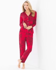 83d57b319 Cool Nights Long Sleeve Notch Collar Pajama Top Fine Lace Festive Red