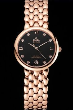 Omega De Ville Prestige Black Dial With Diamonds Rose Gold Case And Bracelet