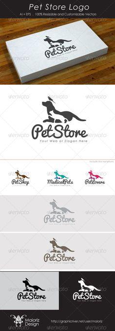 Pet Store Logo: Animal Logo Design Template by maioriz. Letterhead Template, Logo Design Template, Logo Templates, Identity, Pet Hotel, Pet Supplements, Bird Logos, Cat Dog, Dog Logo