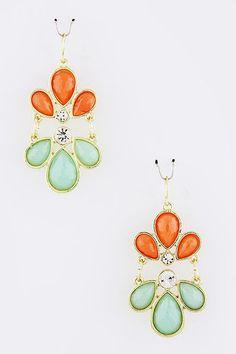 Mint/Orange Rhinestone Earrings #CozyCouture