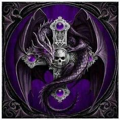 Purple Skull and Cross